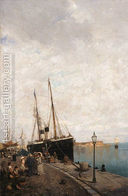 At the Jetty by Constantinos Volanakis - Reproduction Oil Painting