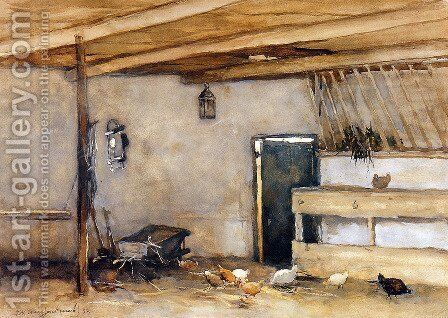 Stable with chickens by Jan Hendrik Weissenbruch - Reproduction Oil Painting