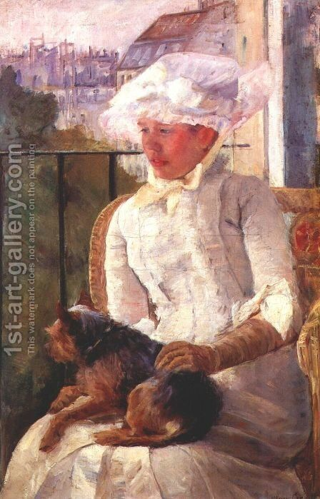 Susan on a balcony holding a dog by Mary Cassatt - Reproduction Oil Painting