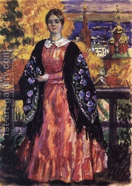 Mercahnt's Wife by Boris Kustodiev - Reproduction Oil Painting