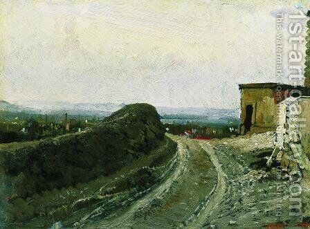 The road from Montmartre in Paris by Ilya Efimovich Efimovich Repin - Reproduction Oil Painting