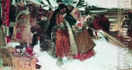 At marketplace by Boris Kustodiev - Reproduction Oil Painting