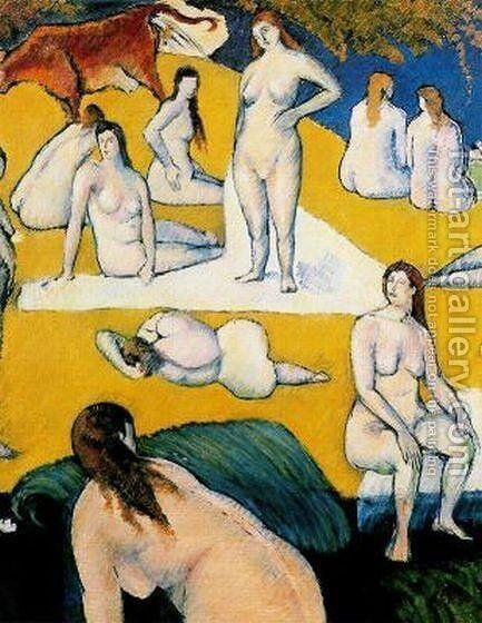 Bathers with Red Cow by Emile Bernard - Reproduction Oil Painting