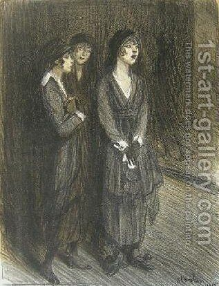 Veuves d'un Louis by Theophile Alexandre Steinlen - Reproduction Oil Painting