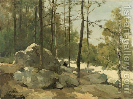 Forest View near Barbizon by Jan Hendrik Weissenbruch - Reproduction Oil Painting