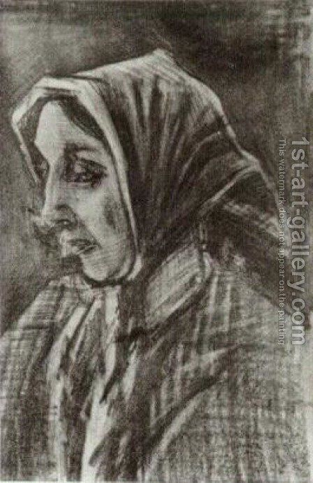 Woman with Shawl over her Hair, Head by Vincent Van Gogh - Reproduction Oil Painting