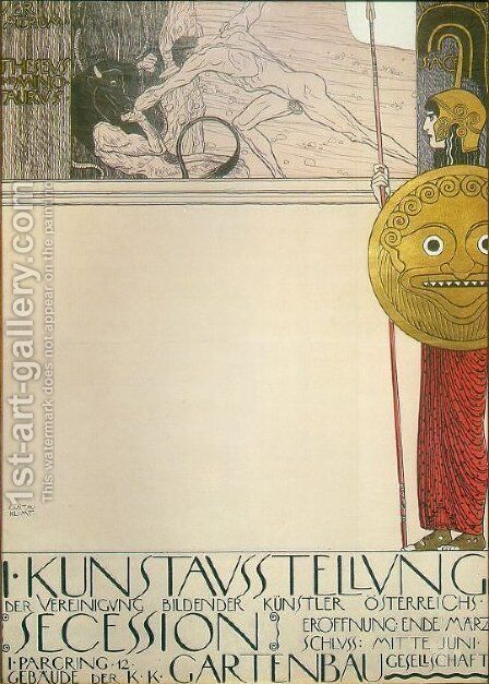 Poster for the First Art Exhibition of the Secession Art Movement by Gustav Klimt - Reproduction Oil Painting