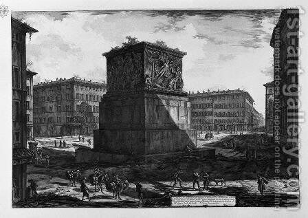 View of the pedestal of the Apotheosis of Antoninus Pius and his wife Faustina in the Piazza di Monte Citorio by Giovanni Battista Piranesi - Reproduction Oil Painting