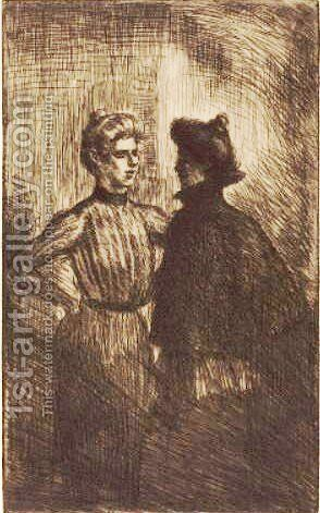 Rencontre by Theophile Alexandre Steinlen - Reproduction Oil Painting