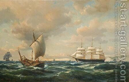 Sailing off the English coast by Anton Melbye - Reproduction Oil Painting