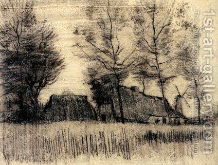 Landscape with Cottages and a Mill by Vincent Van Gogh - Reproduction Oil Painting