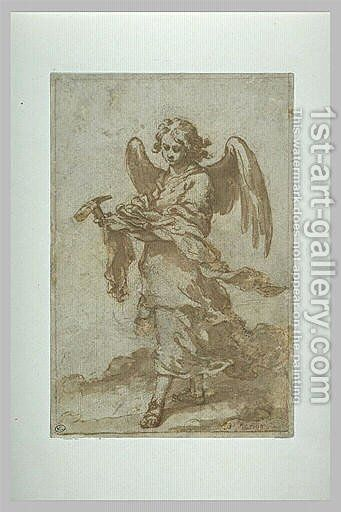 Angel holding a hammer and nails by Bartolome Esteban Murillo - Reproduction Oil Painting