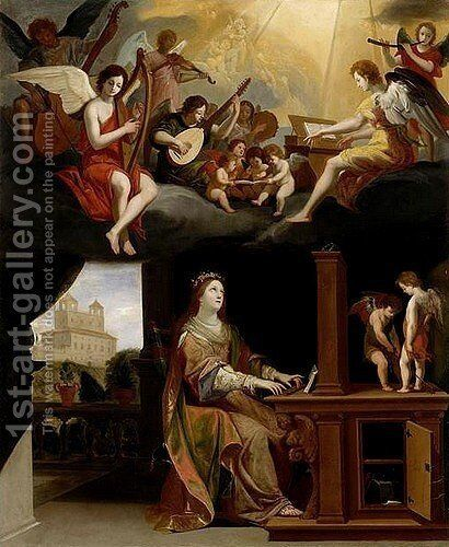 St. Cecilia by Jacques Stella - Reproduction Oil Painting
