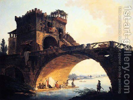 The Old Bridge by Hubert Robert - Reproduction Oil Painting