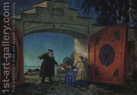 The gate of house Kabanovs by Boris Kustodiev - Reproduction Oil Painting