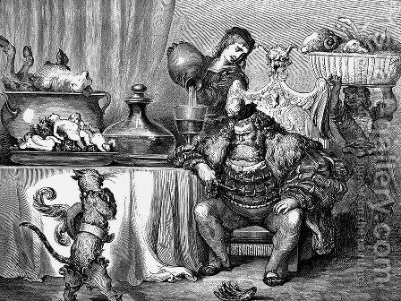 The Ogre Received Him As Civilly As An Ogre Can by Gustave Dore - Reproduction Oil Painting