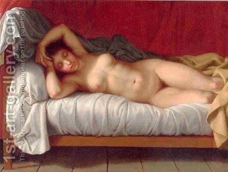 Lying Model in Bed by Christoffer Wilhelm Eckersberg - Reproduction Oil Painting