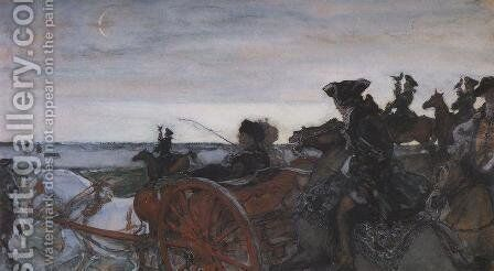 Catherine II Setting out to Hunt with Falcons by Valentin Aleksandrovich Serov - Reproduction Oil Painting
