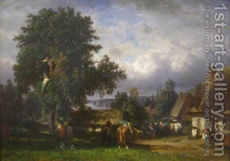 Apple Harvest in Normandy by Constant Troyon - Reproduction Oil Painting