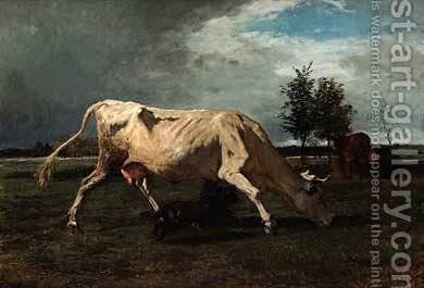 Cow chased by a dog by Constant Troyon - Reproduction Oil Painting