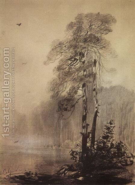 Pines on the shores of Lake by Alexei Kondratyevich Savrasov - Reproduction Oil Painting