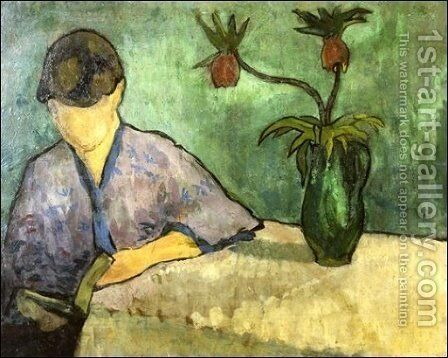 Young Woman in Kimono, Reading by Emile Bernard - Reproduction Oil Painting