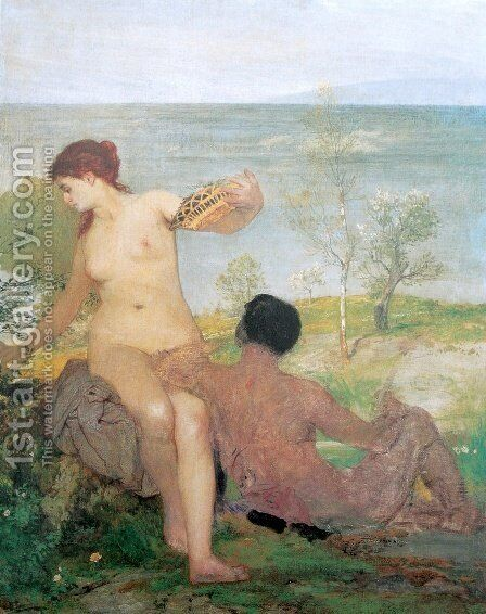 Girl and boy picking flowers 2 by Arnold Böcklin - Reproduction Oil Painting