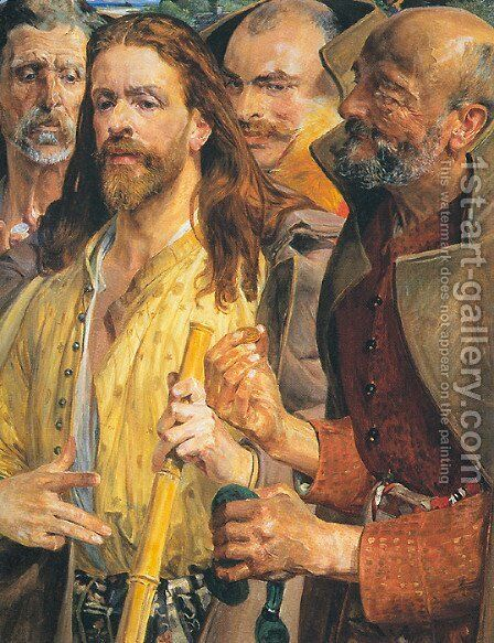 The Tribute Money (triptych) middle by Jacek Malczewski - Reproduction Oil Painting
