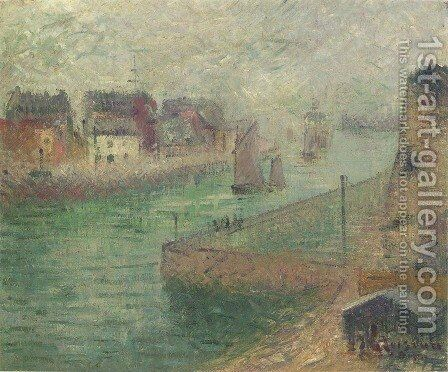 Port at Dieppe in Fog by Gustave Loiseau - Reproduction Oil Painting