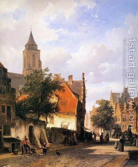 Church in Zaltbommel by Cornelis Springer - Reproduction Oil Painting