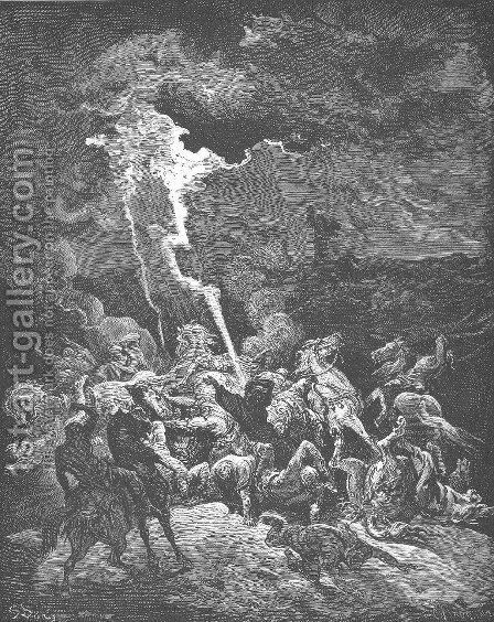 Elijah Destroys the Messengers of Ahaziah by Gustave Dore - Reproduction Oil Painting