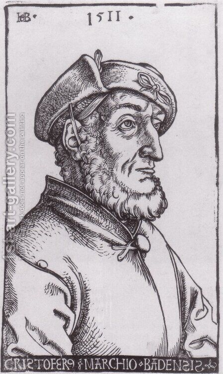 Markgraf Christoph I von Baden by Hans Baldung  Grien - Reproduction Oil Painting