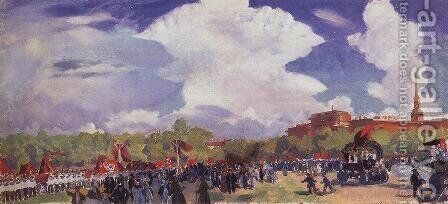 May Day parade. Petrograd. Mars Field by Boris Kustodiev - Reproduction Oil Painting
