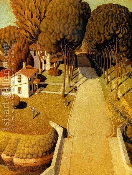 The Birthplace of Herbert Hoover by Grant Wood - Reproduction Oil Painting