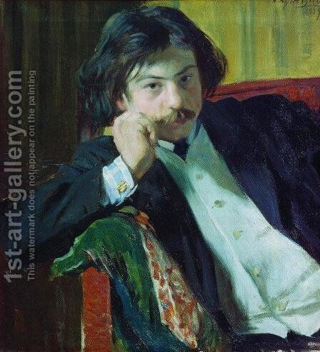 Portrait of Y.I. Lavrin by Boris Kustodiev - Reproduction Oil Painting