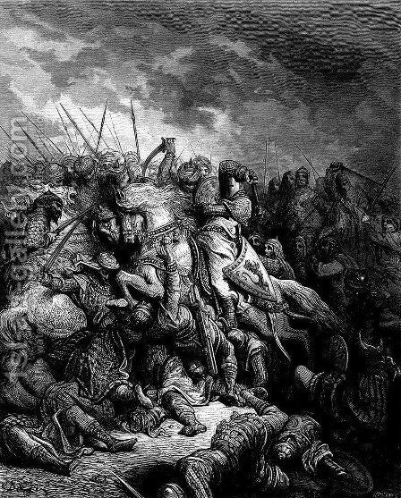 Richard I the Lionheart in battle at Arsuf in 1191 by Gustave Dore - Reproduction Oil Painting