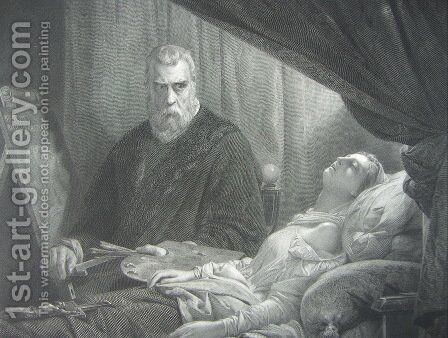 Tintoretto at the deathbed of his daughter by Jacopo Tintoretto (Robusti) - Reproduction Oil Painting