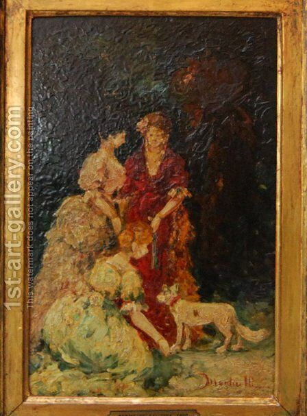Elegant gathering by Adolphe Joseph Thomas Monticelli - Reproduction Oil Painting