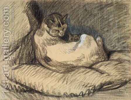 Mother Cat by Theophile Alexandre Steinlen - Reproduction Oil Painting