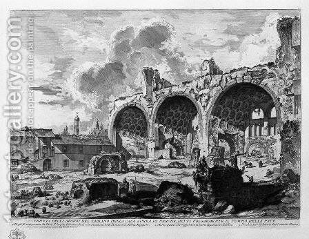 View the remains of Nero's Golden House Tablino, vulgarly called the Temple of Peace by Giovanni Battista Piranesi - Reproduction Oil Painting