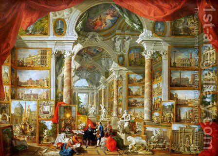 Gallery of Views of Modern Rome by Giovanni Paolo Panini - Reproduction Oil Painting