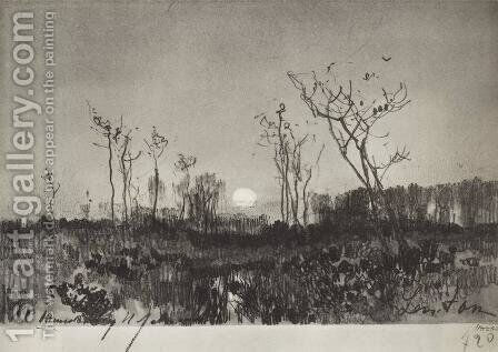 Landscape with moon by Isaak Ilyich Levitan - Reproduction Oil Painting