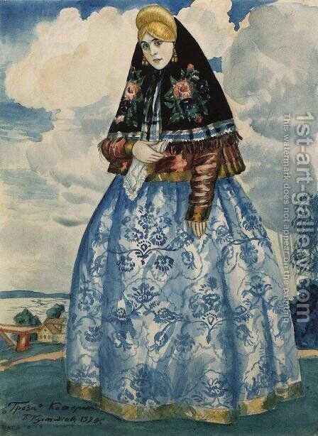 Katerina. Costume Design for Nikolai Ostrovsky's 'The Thunderstorm' by Boris Kustodiev - Reproduction Oil Painting
