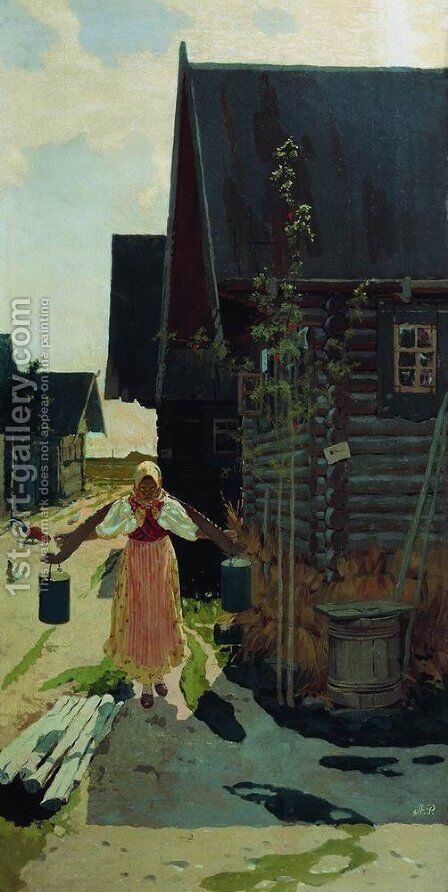 In the village. Girl with a bucket by Andrei Petrovich Ryabushkin - Reproduction Oil Painting