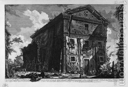 View of the Temple of Fortuna Virile by Giovanni Battista Piranesi - Reproduction Oil Painting