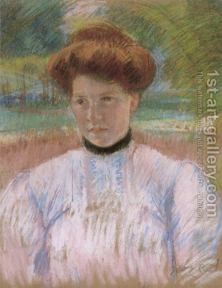 Young Woman with Auburn Hair in a Pink Blouse by Mary Cassatt - Reproduction Oil Painting