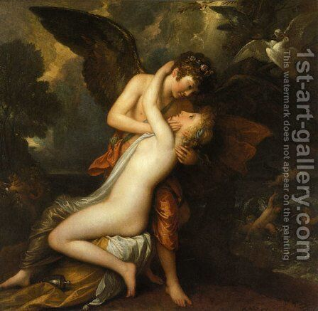 Cupid and Psyche by Benjamin West - Reproduction Oil Painting