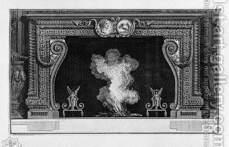 Fireplace frieze on a medal with his imperial backhand; inside wing with two winged Victories by Giovanni Battista Piranesi - Reproduction Oil Painting