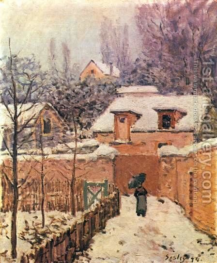 Garden in Louveciennes in the Snow by Alfred Sisley - Reproduction Oil Painting