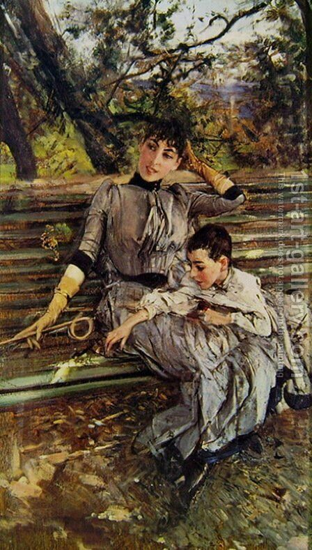 In Garden by Giovanni Boldini - Reproduction Oil Painting